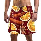 Lorvies, costume da bagno da uomo, arancione e spezie, con motivo frutta Multi XL