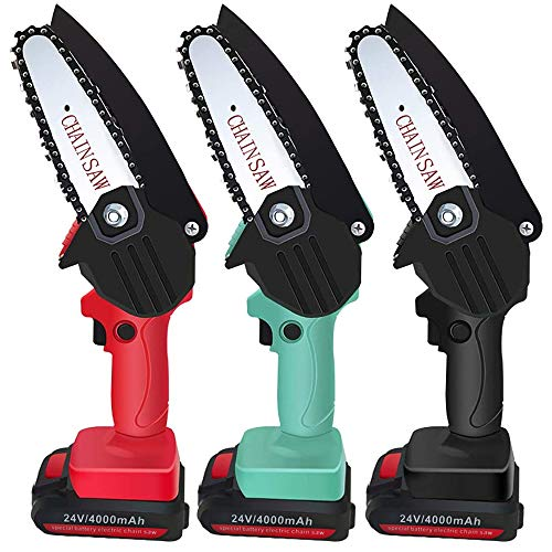 Directtyteam Mini Chainsaw 4 Inch Small Rechargeable Lithium Battery One Handed Operated Portable Cutting Tree Electric Handheld Cordless Pruning Saw for Woodworking Garden Chain Saws red