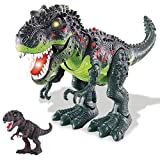 BAKAJI Dinosauro T Rex Giocattolo Bambini Camminante con Luci Suoni Occhi e Bocca Luminosi Muove Testa Coda e Zampe Curato in Ogni Dettaglio in 2 Colori
