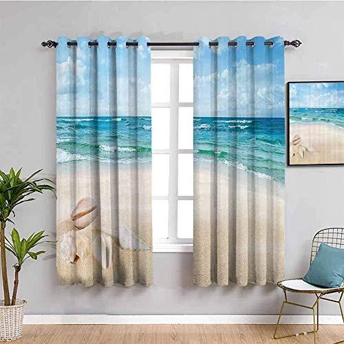LucaSng Cortinas de Opacas - Azul mar Playa Conchas - 264x210 cm - para Sala Cuarto Comedor Salon Cocina Habitación - 3D Impresión Digital con Ojales Aislamiento Térmico Cortinas
