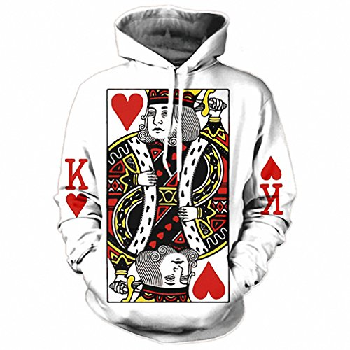 Heart of The Cards Men Hoodie 3D Graphic Print Playing Poker King Sweatshirts Hip Hop Style Hooded Tracksuit Fashion Pullover The King Poker Print M