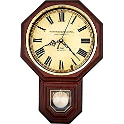 JUSTIME Traditional Schoolhouse Vintage Roman Pendulum Wall Clock Chimes Hourly with Westminster Melody. (PP-VR-DW Dark Wood Grain)
