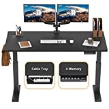 FEZIBO Height Adjustable Electric Standing Desk, 48 x 24 Inches Stand Up Desk Workstation, Full Sit Stand Home Office Table with Programmable Preset Controller, Black Frame/Black Top