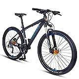 FANG Bicicleta de montaña de 27,5 pulgadas, para adultos y hombres, 27 velocidades, con frenos de disco, marco de aluminio Hardtail MTB, oro, Hombre, azul