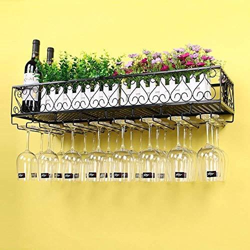 DNSJB Estante Del Vino Del Metal Colgados De La Pared Montado En Rack Titular De Vinos De Champagne Glass Copas Copas (Size : 80 * 25cm)