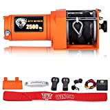 TYT 2500 lb. Advanced ATV/UTV Winch with Synthetic Rope Kits, 12V Electric Winch for ATV, UTV, Towing, Boat, Off Road, Waterproof IP67 Portable Winch with Winch Mounting Plate and 2 Wireless Remotes