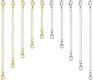 HEALLILY 8pcs en Acier Inoxydable Collier Extension Bracelet Extension cha/îne dextension avec Boucle de Homard pour la Fabrication de Bijoux de Bricolage