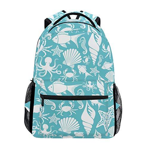 Schulrucksack Büchertasche Ocean Octopus Seestern Quallen Muschelmuster Rucksack Daypack Wasserdicht für die Schule Reisen Mädchen Jungen Teenager