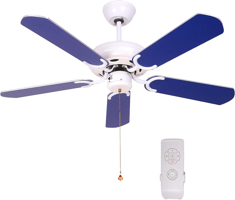 HFTD Ventilador de Techo doméstico sin luz, Ventilador de Techo Moderno, Ventilador de 5 aspas, Ventilador de Techo Reversible, Azul