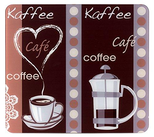 WENKO Plaque Multi Arôme du Café - pour plaques de cuisson vitrocéramiques, planche à découper, Verre trempé, 56 x 0.5 x 50 cm, Multicolore