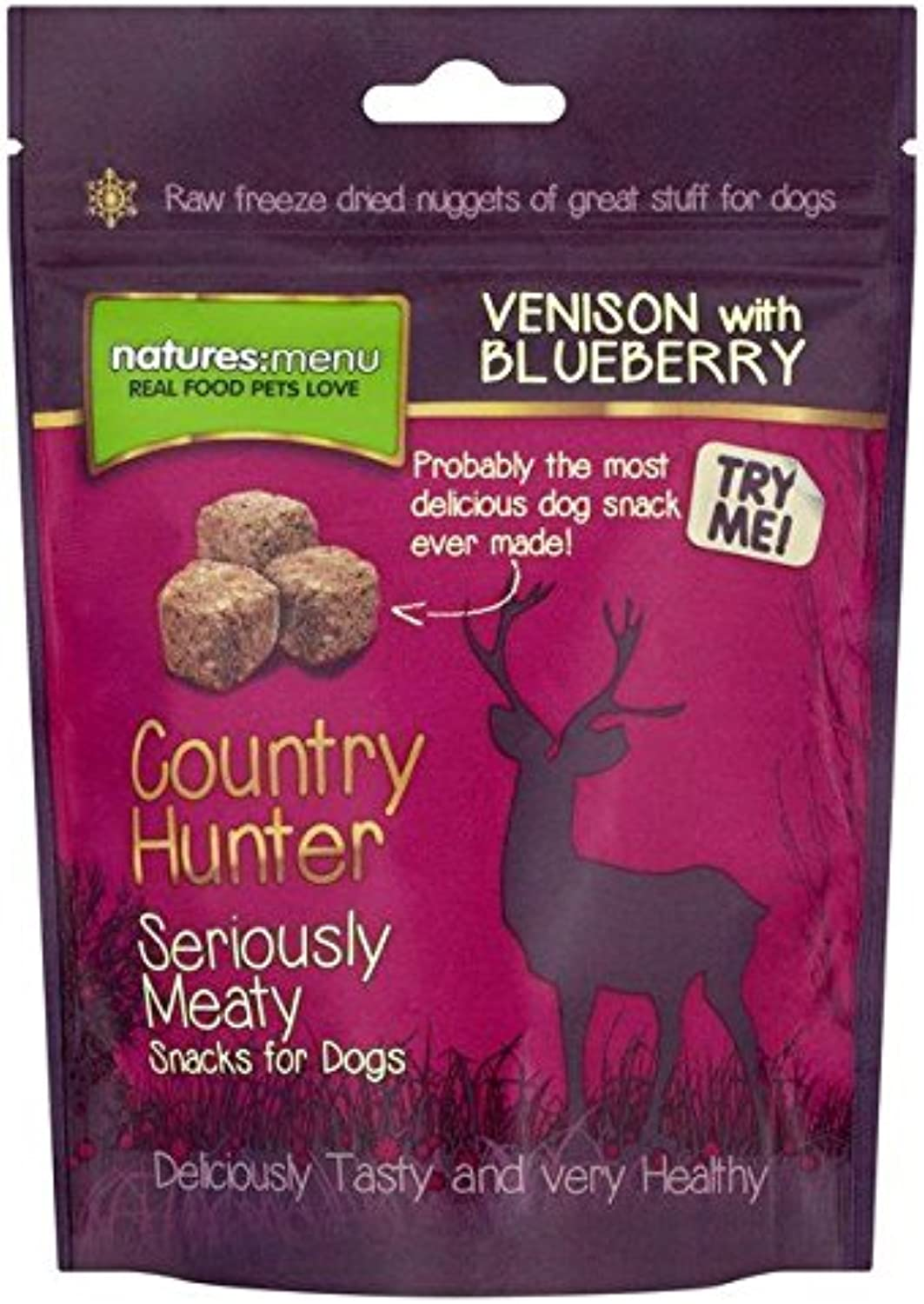 Natures Menu Country Hunter Venison & blueeberry Freeze Dried Snack for Dogs 50g (PACK OF 6)