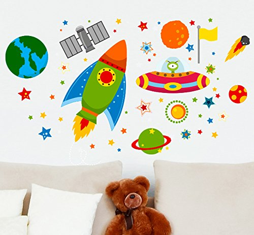 Nave espacial de cohetes pegatinas Espacio exterior OVNI planetas Aprendizaje Pegatinas de pared Calcomanías para niños Dibujos animados calcomanías infantiles murales gráficos pegatinas