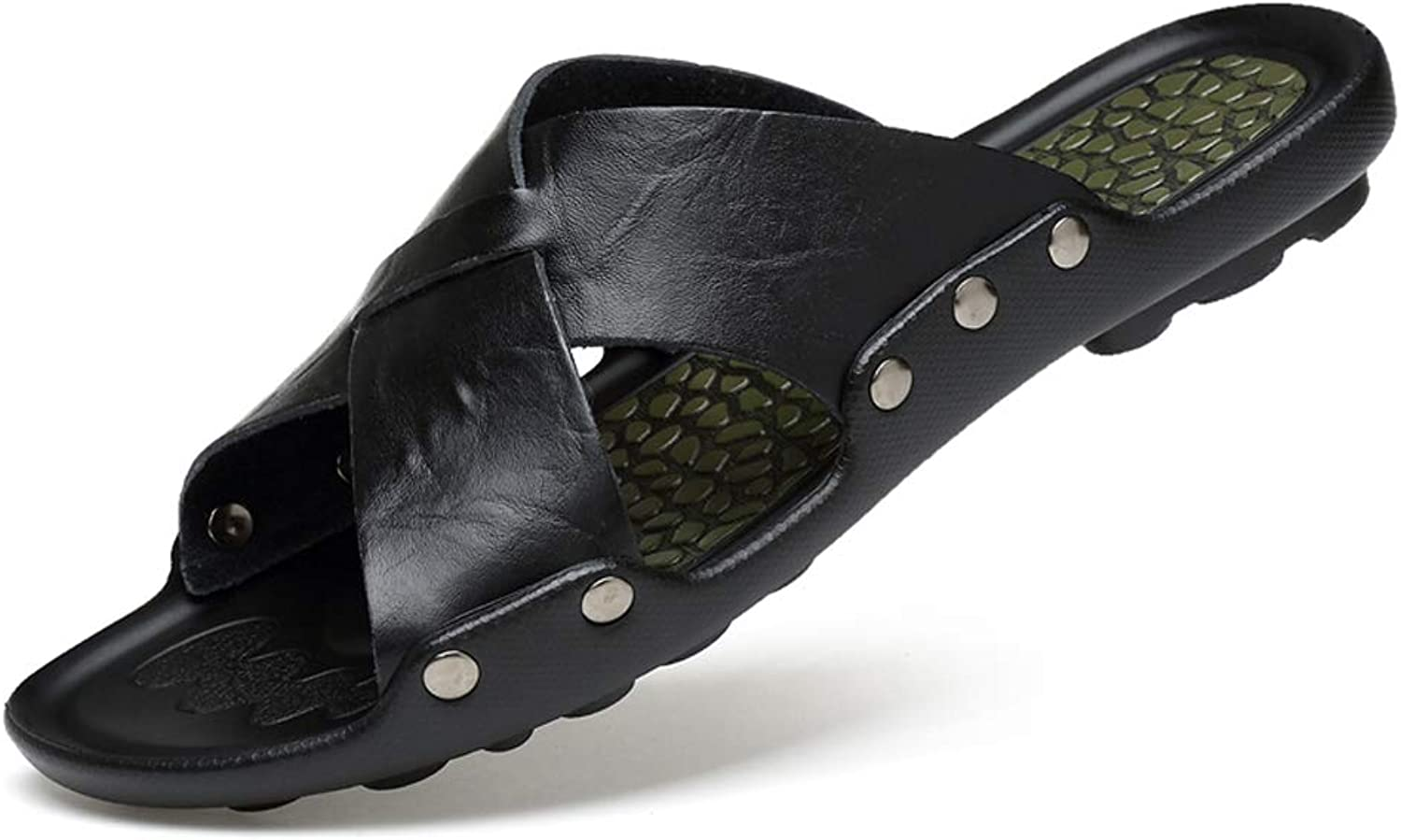 GLJJQMY Black Men's Slippers Summer Non-slip Cross Slippers English shoes Soft Soles Sandals And Slippers flip flop (color   Black, Size   7.5 UK)