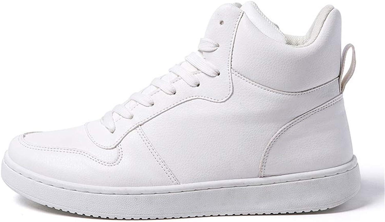 ZHRUI Men Casual shoes High Top Lace Up Flat Footwear Men Sneakers (color   White, Size   9=43 EU)
