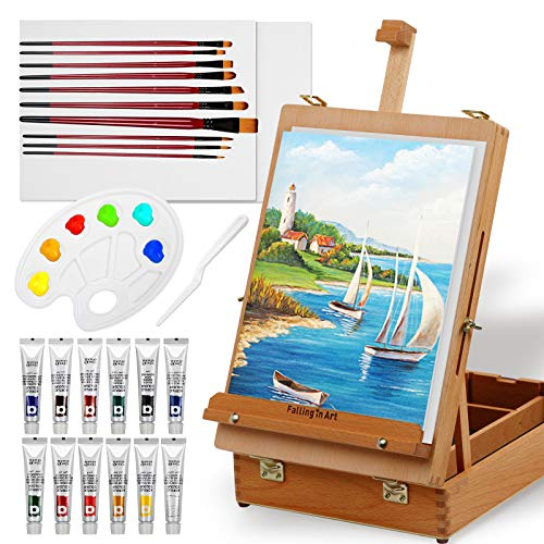 Falling in Art Easel Box Acrylic Paint Set with Portable Table Display Stand, Acrylic Paint Tubes, Canvas Panels, Brushes, Palette, and More