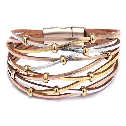 GAOKANG Hohl Multilayer Echtes Leder Breite Armbänder Für Frauen Geflochtene Perlen Armband Armreif Schmuck,Gold-Silber