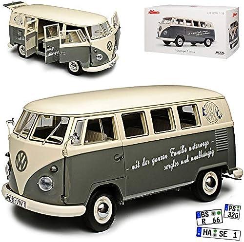 Volkwagen T1 B Bus Grau Weißs Personen Transporter 1950-1967 1 18 Schuco Modell Auto mit individiuellem Wunschkennzeichen