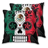 Juego de 2 fundas de cojín de terciopelo sólido, cuadradas, para sofá, banco, 18 x 18 pulgadas (45 cm), bandera de México, calavera de azúcar, Terciopelo., 1 color, 20'x20