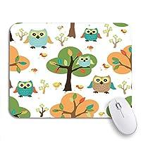 ROSECNY 可愛いマウスパッド 動物のかわいいフクロウの森パターン赤ちゃん鳥ノンスリップゴムバッキングコンピューターマウスパッド用ノートブックマウスマット