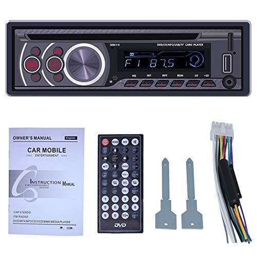 TOOGOO Reproductor de CD EstéReo para AutomóVil - Audio DIN Individual y Llamadas Manos Libres de MP3 CD/DVD/VCD Puerto Am/FM USB Entrada Auxiliar Receptor de Radio