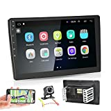 Android 9.1 Double Din GPS Car Stereo Radio, ZIJIN 10.1'' HD 1080P 2.5D Tempered Glass Mirror Car MP5 Player with Bluetooth WIFI GPS FM Radio Receiver Suppport Rear Camera