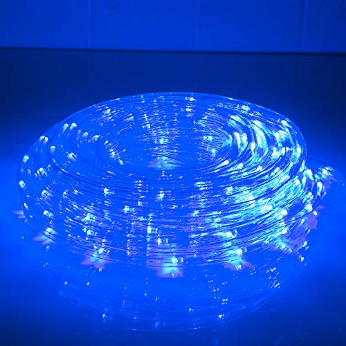 33ft 240 LED Rope Lights, Indoor Outdoor Blue Rope Lights, Low Voltage, Waterproof, Connectable Clear Tube Light Rope and String for Deck, Pool, Patio, Camping, Landscape Lighting Decorations (Blue)