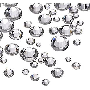 Customer reviews 1000 Pieces Clear Flat Back Rhinestones Round Crystal Gems 1.5 mm - 5 mm, 5 Sizes