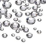 1000 Piezas Diamantes de Cristal de Espalda Plano Transparente Gemas de Cristal Redondas 1.5 mm - 5 mm, 5 Tamaños