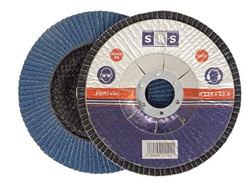 SBS Fächerscheiben | ø 125 mm | Korn 120 | 10 Stück | INOX Blau für Winkelschleifer Schleifmop