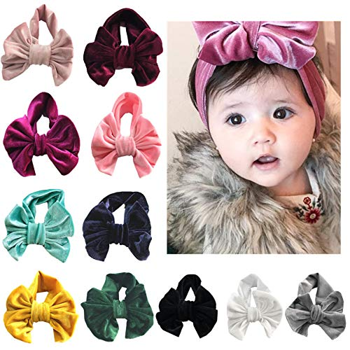 JasCherry Pleuche Hecho Mano 11Colores/Set Hair Ties Diademas con Nudo Grande Diademas Elásticas Diademas Suaves para Bebés Accesorios para el Cabello para Bebés Tocados para Fiestas de Niñas
