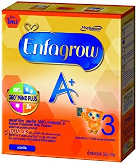 Enfagrow Instant Milk powdered A+ 360° Mild Plus Stage 3-Plain Flavored(19.4Oz/ 550g),For toddlers 1-3 years of age,Contains;DHA 25 mg,Choline 40 mg,High Vitamin B12(Send you happiness)