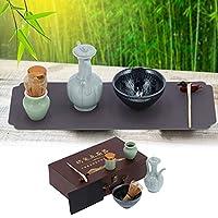 抹茶セット、家庭用の高品質セラミックと竹素材を使用した完璧な天然茶道キット(百花, 青)