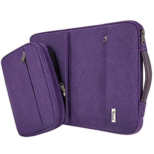 Voova 14-15.6 Inch Laptop Sleeve Case, Special Design Waterproof Computer Cover Bag with Detachable Small Pouch Compatible with MacBook Pro 16 2019, 15 Inch MacBook Pro, Chromebook,Purple
