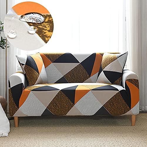WXQY Funda de sofá elástica Funda de sofá de impresión elástica para Sala de Estar Funda de sofá a Prueba de Polvo con Todo Incluido Funda de sillón A4 3 plazas