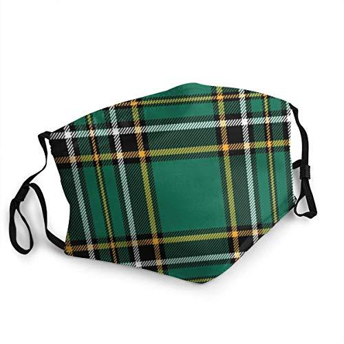 BIT - Mascherina per il viso in tartan irlandese, alla moda, lavabile, per uomini e donne, protegge la bandana del Regno Unito