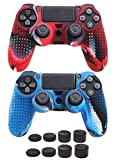 2 Pack Silicone Skin Cover for Sony PS4 Controller- Auswaur Anti-Slip Protector Case Compatible with Sony Playstation Dualshock 4/PS4 Slim/PS4 Pro Controller with 8 Thumb Grips-Camo Red and Camo Blue
