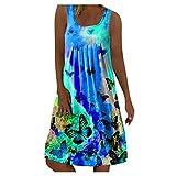 YinGTral Lässiger Schmetterlingsdruck der Damen Sommer Sexy Streifen Ärmelloses buntes Kleid