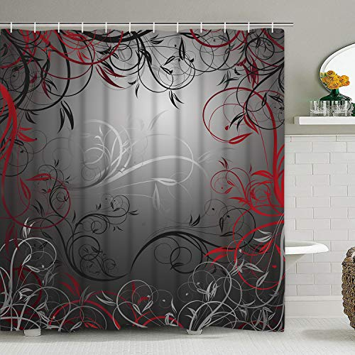 Floral Swirl Floral Shower Curtain with 12 Hooks, Flower Leaf Branches Interwoven Shower Curtain for Bathroom, Red and Grey Black Shower Curtai