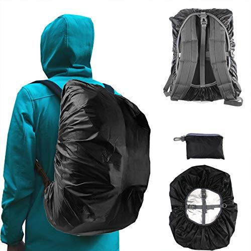 Frelaxy Waterproof Backpack Rain Cover, 2020 Upgraded Triple Waterproofing, Antislip Cross Buckle Strap (Black, M (for 25L-35L Backpack))