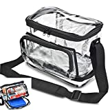 HEAVY DUTY Clear Lunch Bag with Separate Cold Pack Compartment. KEEP YOUR FOOD COOL LONGER! Adjustable Shoulder Strap, Front Zipper Pocket & The Perfect Size- 10' Long x 9' Wide x 8' Tall