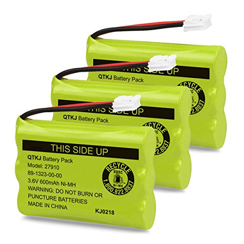 QTKJ Cordless Phone Battery for Motorola SD-7501 MD7161 AT&T 27910 89-1323-00-00 E1112 E2801 TL72108 Vtech I6725 RadioShack 23-959 (3-Pack)