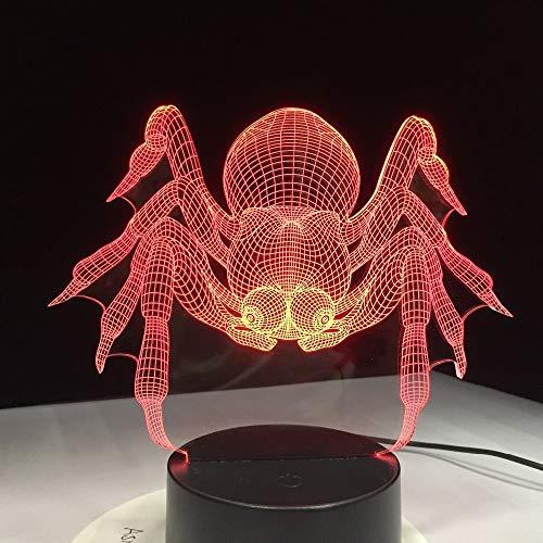 Colorido USB Spider Shape 3D Lámpara de mesa Niños Juguete Regalo Ilusión Hogar Dormitorio Oficina LED Niño Luz de noche Regalo
