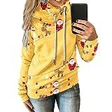 Sudadera con capucha de manga larga para mujer, diseño de Navidad, estilo casual, para la vida diaria, amarillo, XXL