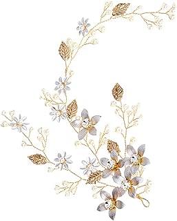 Elegante diadema de novia hecho a mano perlas hoja de la flor tocados nupciales Headwear accesorio de pelo para la decoración del pelo de la boda (dorado)