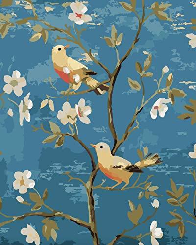 Hanzeze Pintar por Numeros Pájaro Rama Principiantes Lienzo de Bricolaje Regalo de Pintura al óleo para Adultos niños Pintura por número Kits Decoraciones 40x50cm Sin Marco