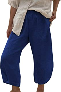 729174425abbcf Topgrowth Pantaloni Larghi Donna Vita Alta Vintage Elegante Pantaloni Donna  Biancheria di Cotone Sport Casual Pantaloni