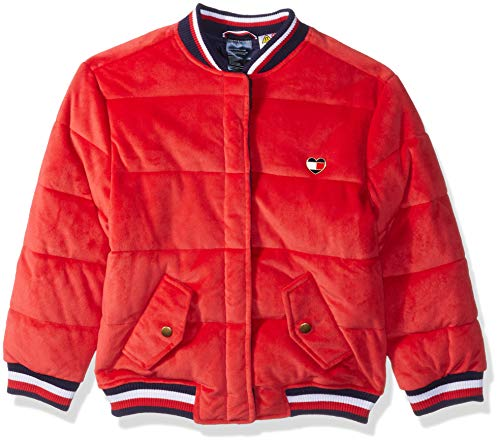 Tommy Hilfiger Girls' Adaptive Bomber Jacket with Magnetic Buttons, racing red X-Small