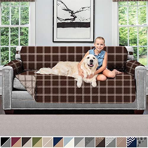 Sofá Shield Original Patent Pending Reversible Sofá Protectores, lavable a máquina Muebles Slipcover, 2 pulgadas Correa, sofá funda de manta, fundas para mascotas, niños, gatos, sofá