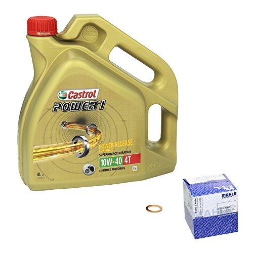 Castrol Power1 (10W-40) Ölwechsel-Set  GS 850 GL, Bj. 80-81 - Motoröl, Mahle Ölfilter und Dichtring