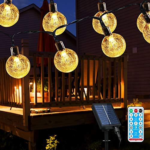 Cadena de luces LED solares, 10 m, 50 ledes, bolas de cristal, para exteriores, para jardín, árboles, terraza, Navidad, bodas, fiestas, blanco cálido